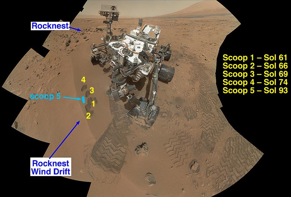 Autoportrait de Curiosity à l'ouvrage sur Rocknest (NASA/JPL)