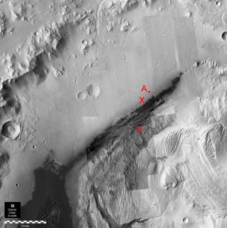 gale par hirise et position Curiosity 11 décembre