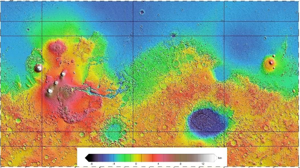 Relief Mars avec échelle
